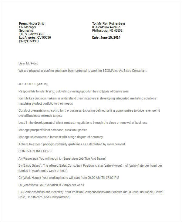 Consultant Offer Letter Templates 7 Free Word PDF Format – Offer Letter