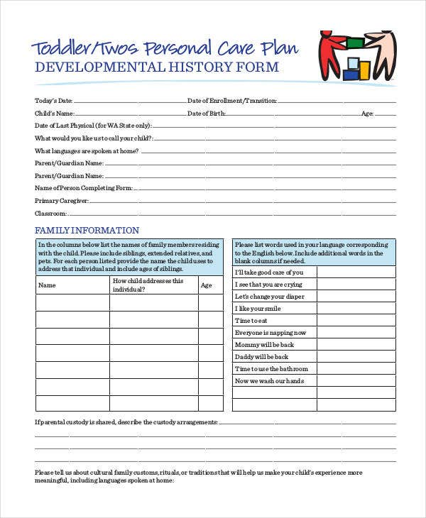 Personal Care Plan Templates   Free Pdf Format Download  Free