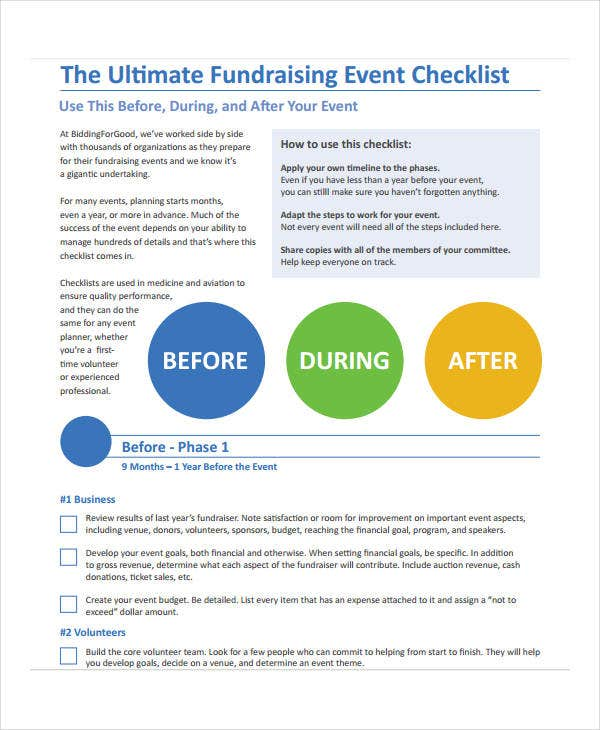 fundraising event to do list template