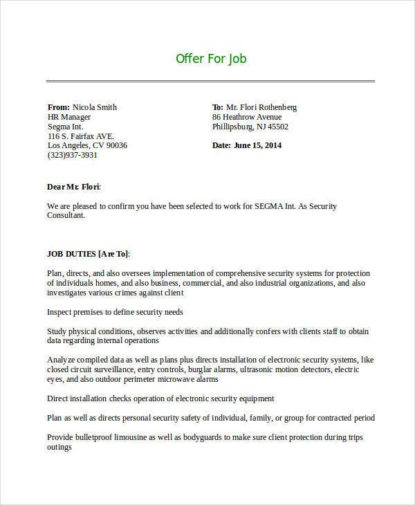 Security Consultant Job Offer Letter Example