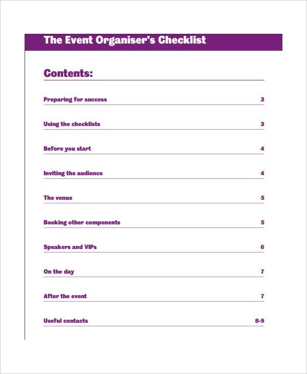 event organizer to do list template