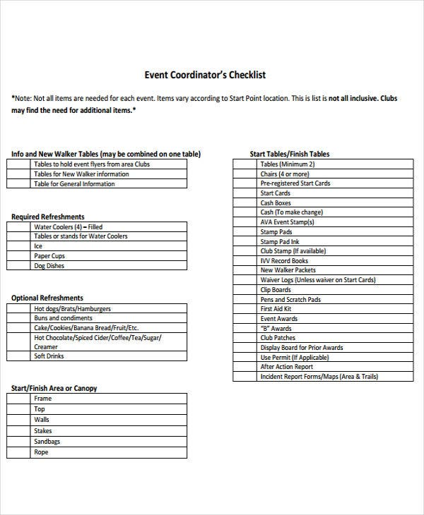 event coordinator to do list