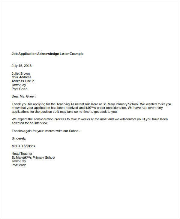 Job Acknowledgement Letter Templates 8 Free Word Pdf Format