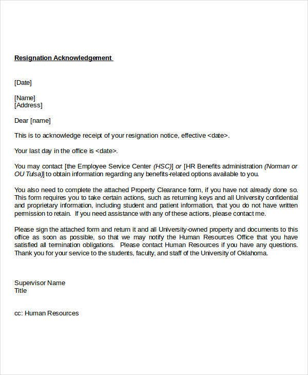job resignationacknowledgement letter template