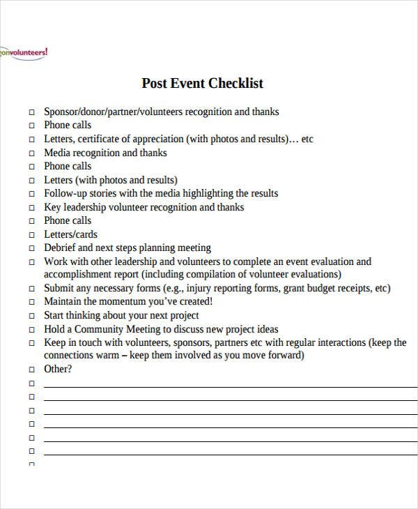 post event to do list template3