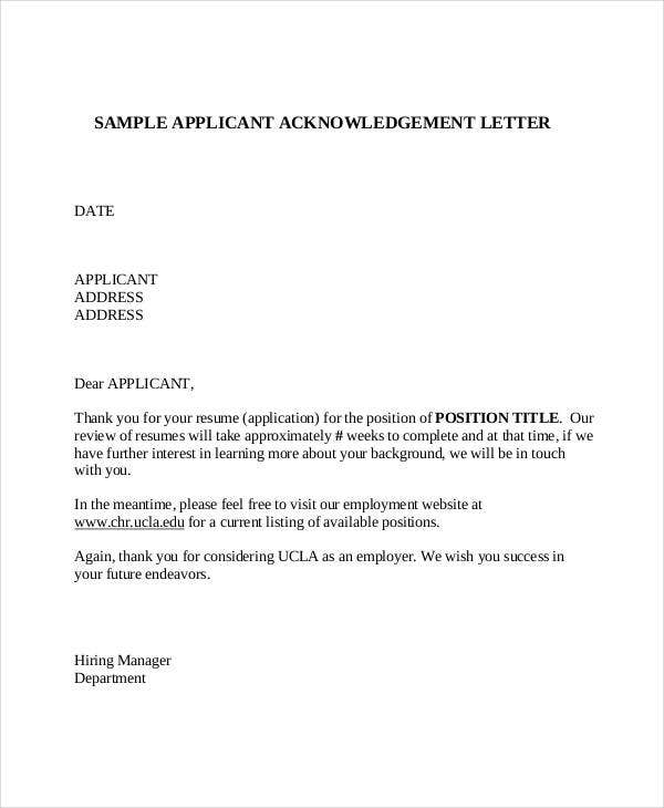 acknowledgement letter for job pdf