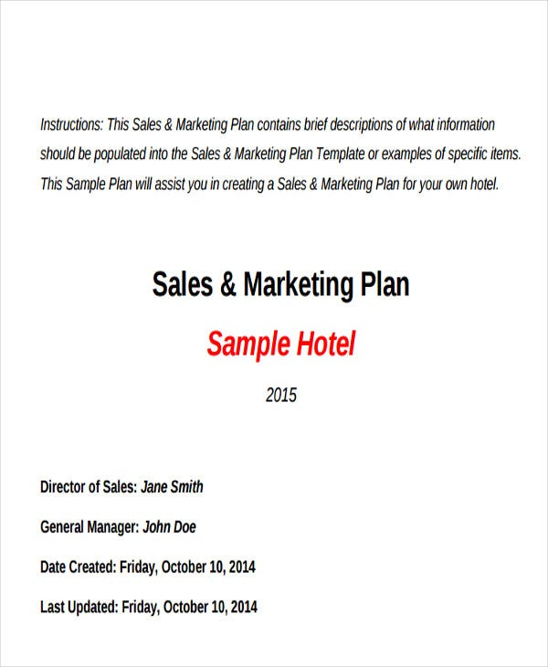 Hotel Sales Plan Templates 5 Free Word PDF Format Download – Template for Sales Plan