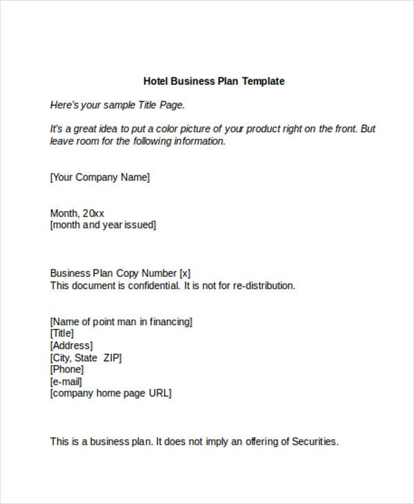 Hotel sales plan templates 9 free word pdf format for Business plan to increase sales template