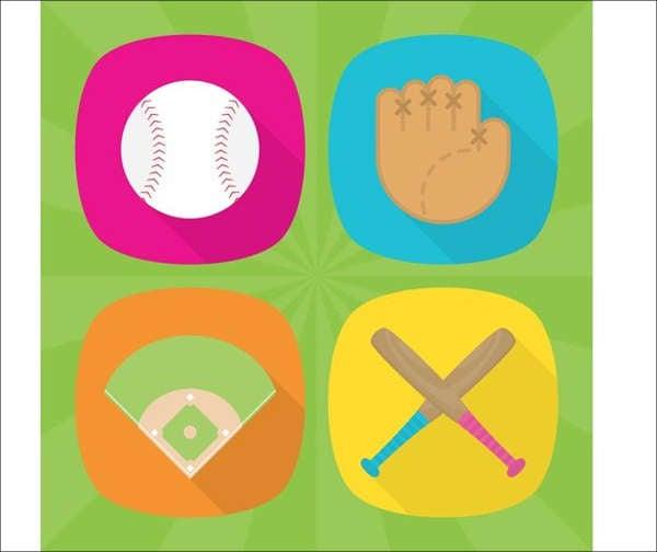 modern flat baseball icon