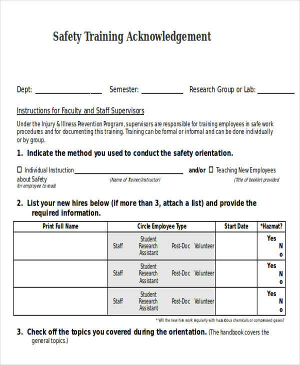 safety training acknowledgement letter template doc