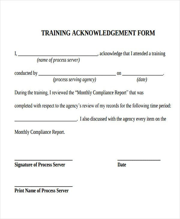 training acknowledgement letter form
