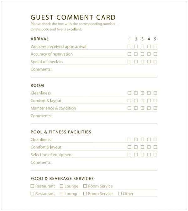 hotel-event-comment-card