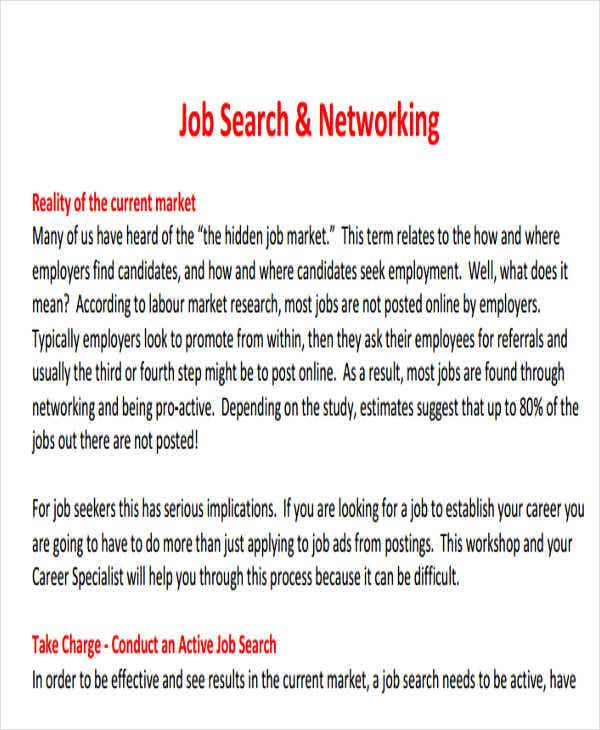 job search networking email