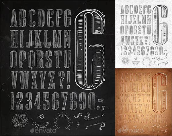 Vintage Alphabet Letter and Numbers