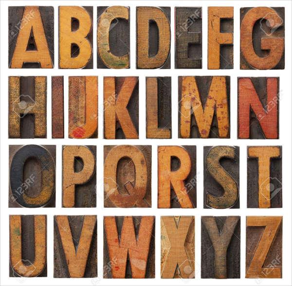 Vintage Block Alphabet Letter