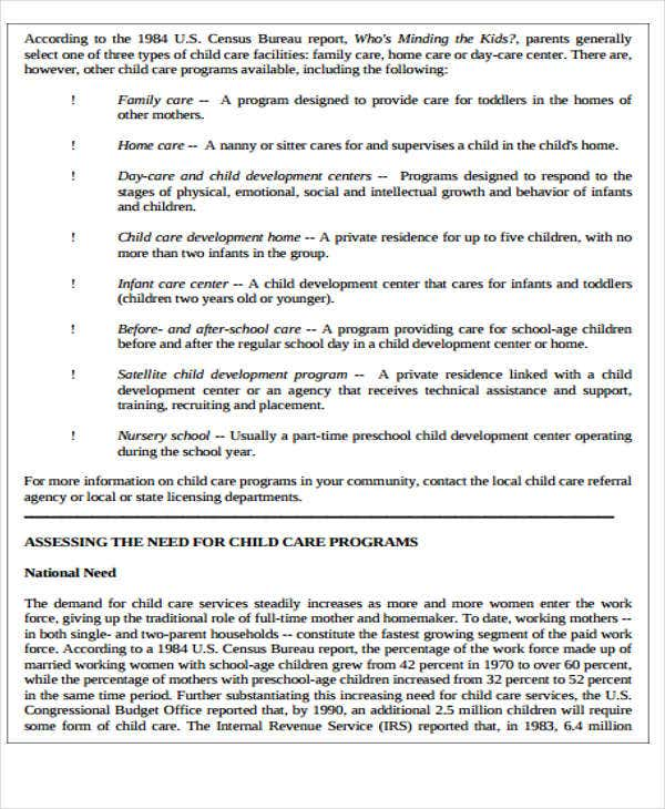 6 child care plan templates free word pdf format download child care business plan template accmission Choice Image