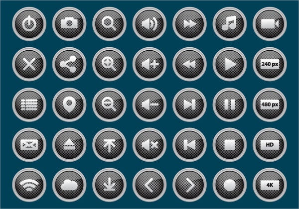 Multimedia Button Icons