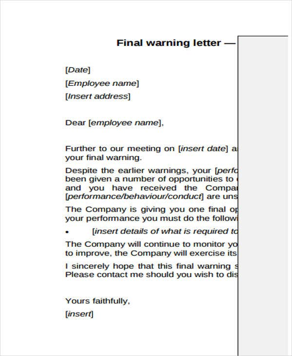 9 Final Warning Letter Template 9 Free Word Pdf