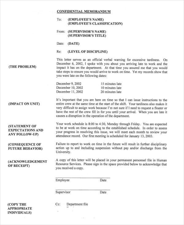 Work Warning Letter Template  Free Word Pdf Format Download