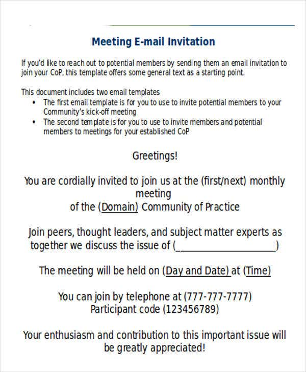 9 official email templates free psd eps ai format for Meeting invite email template