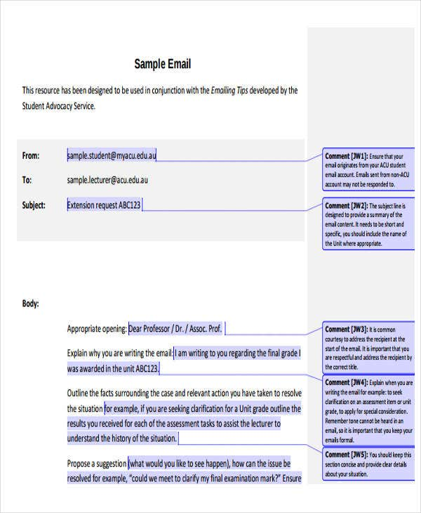 sample official email template