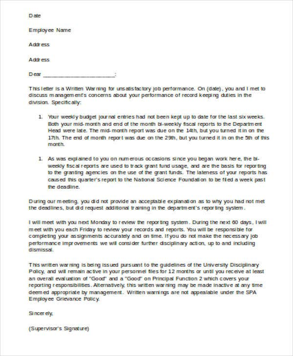 6+ Work Warning Letter Template - Free Word, PDF Format