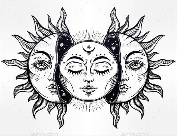 black-and-white-sun-illustration