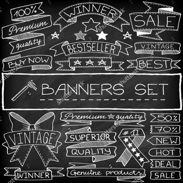 chalkboard banner illustration