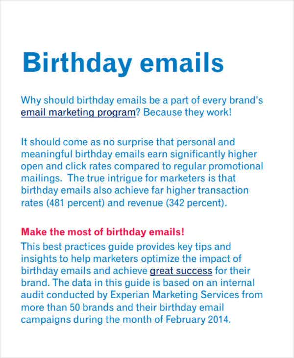 Official Birthday Wishes Email