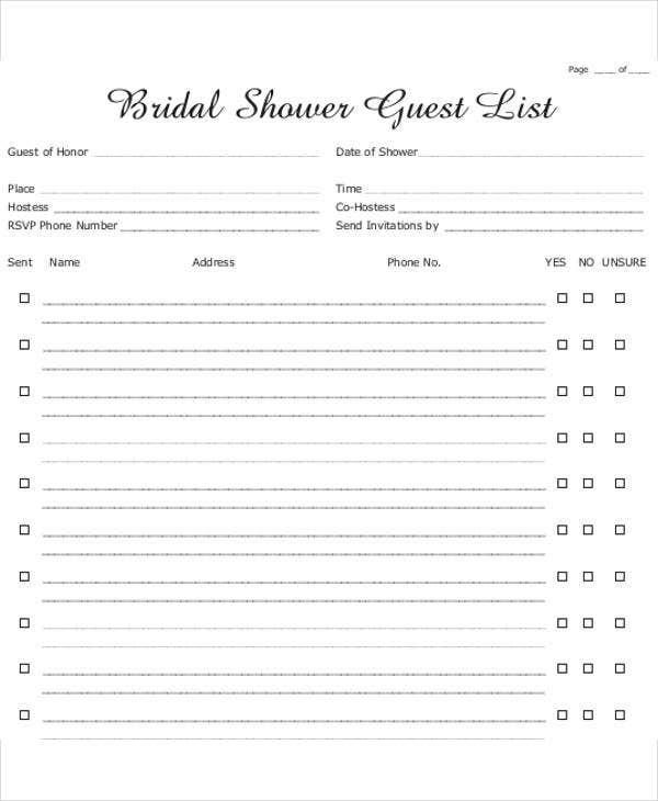 free bridal shower gift list template