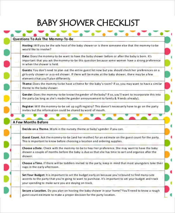 Bridal Shower Gift List Templates 5 Free Word PDF Format – Baby Shower Guest List Template