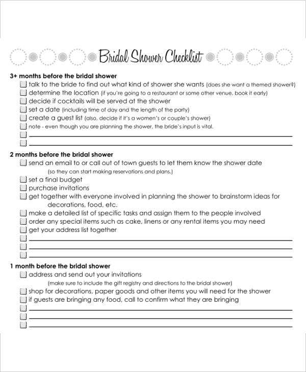 Bridal Shower Gift List Templates   Free Word Pdf Format