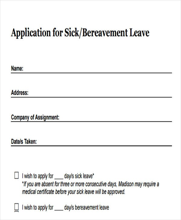 Sick-Leave-Application-Email-Template Sample Bereavement Leave Application Form on uk visa, auto loan, high school, german schengen visa, bridge 2rwanda, for matron job, u.s. visa, personal loan, us passport renewal,