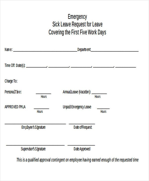 emergency leave application e mail - Sick Leave Request Sample