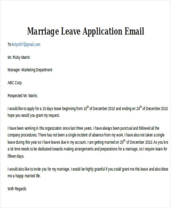 Merveilleux Marriage Leave Application E Mail