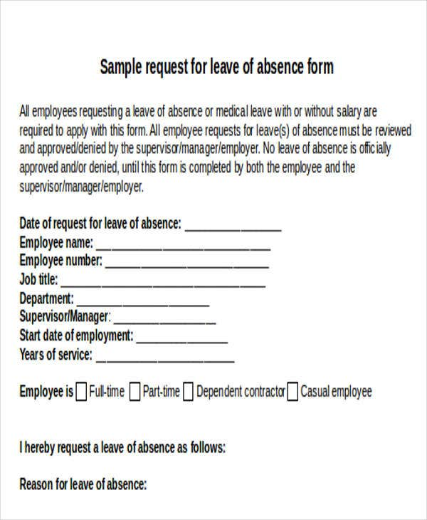 Sick Leave Request Form Template  Leave Request Form Template