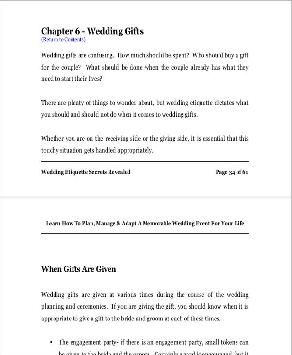 wedding gift list etiquette template