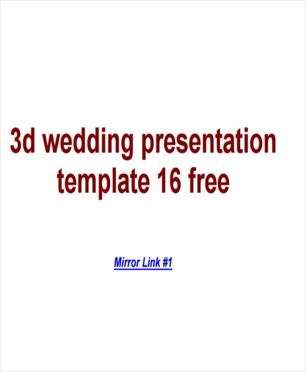 3d wedding presentation template