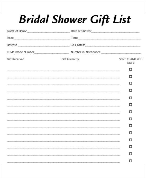 bridal shower gift list template
