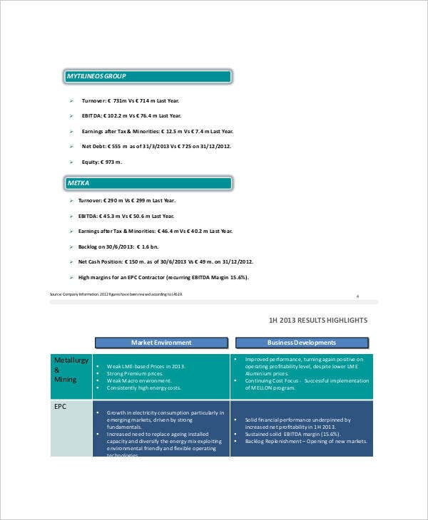 financial results presentation template