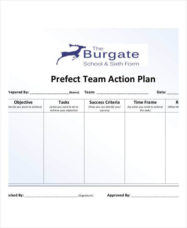 perfect team action plan template