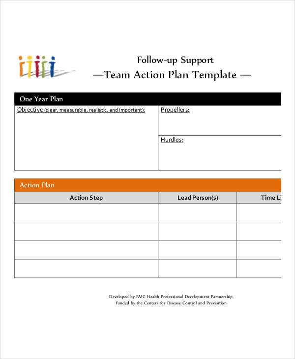 simple team action plan template