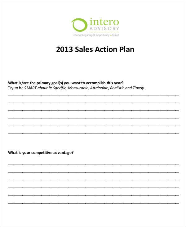 Doc16501275 Personal Action Plan Template Doc638826 Action – Simple Sales Plan Template