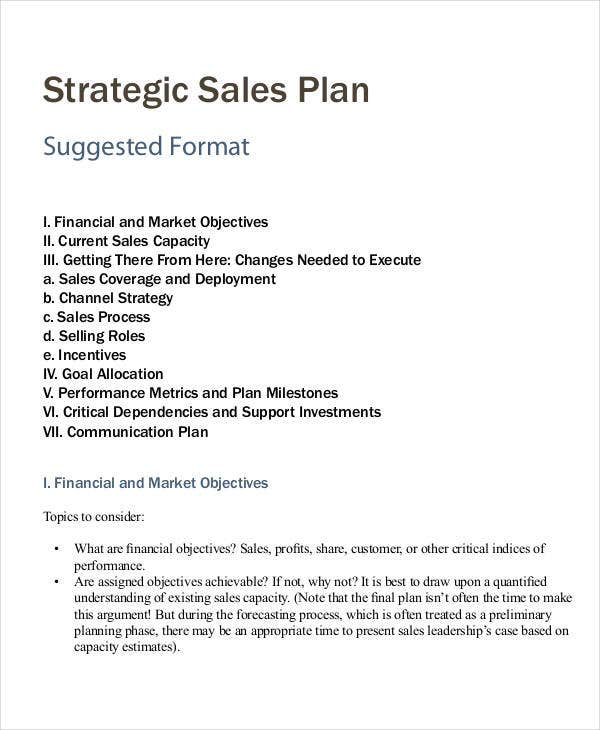 Personal Sales Plan Templates   Free Pdf Format Download