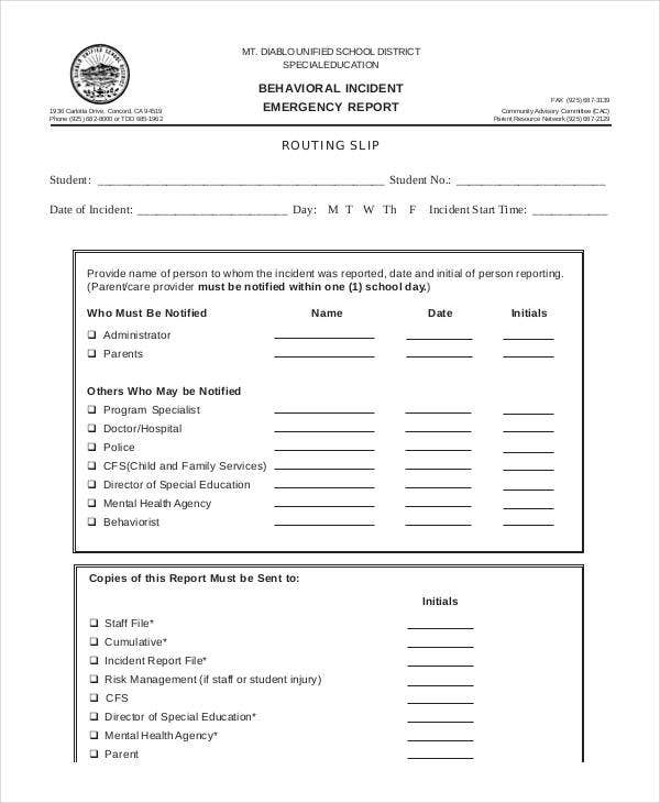 behavior incident report template