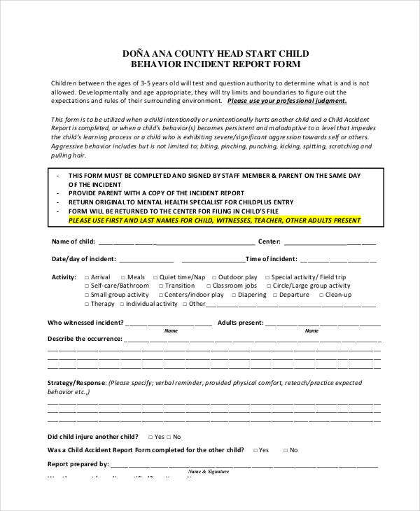 child behavior incident report form template