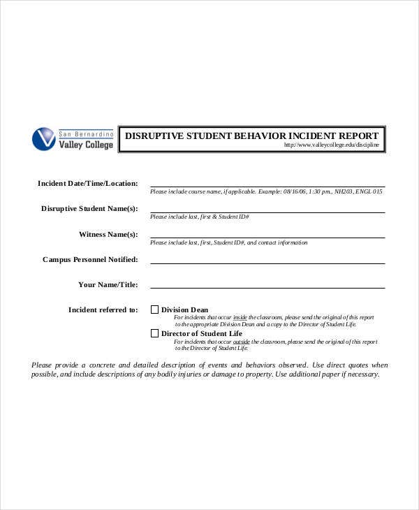 disruptive student behavior incident report template
