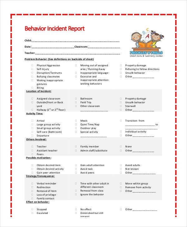 kids behavior incident report template