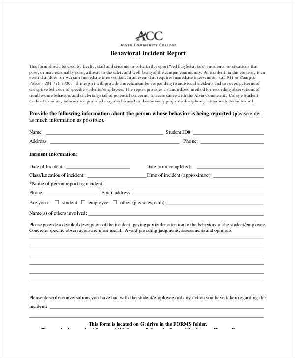 Behavior Incident Report Templates   Free Pdf Format Download