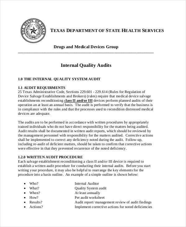 Internal Quality Audit Report Template  External Audit Report Template